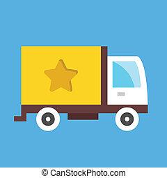 leverans, frakt, vektor, lastbil, ikon