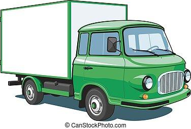 leverans, grön, lastbil