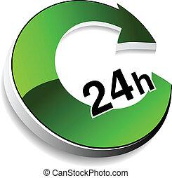 leverans, inköp, symbol, inom, -, timmar, vektor, 24, hem