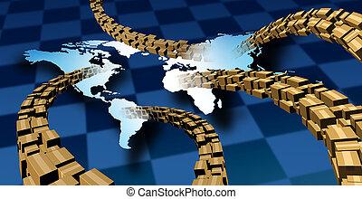leverans, internationell, kolli