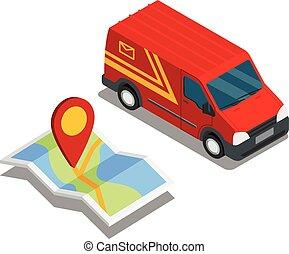 leverans, isometric, 3, skåpbil, bil, lastbil, karta, frakt,...