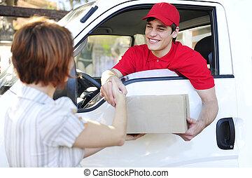 leverans, kurir, leverera, kolli, och, handslag