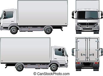 leverans, /, lastbil, frakt