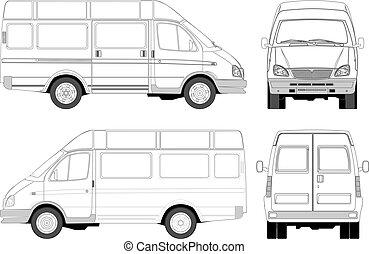 leverans, passenger, skåpbil, /