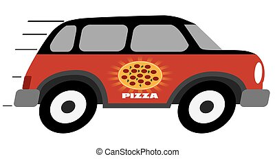 leverans, pizza, tecknad film, fordon