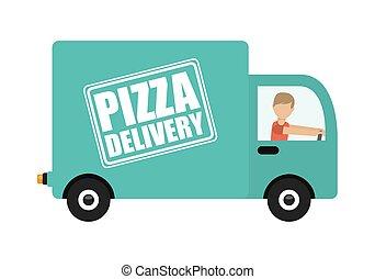 leverans, pizza