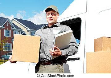 leverans, post,  service,  man