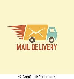 leverans, posta, vektor, årgång, logo