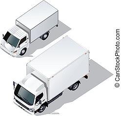 leverans, sätta, lastbilar