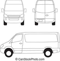 leverans, sidor, skåpbil, tre, synhåll