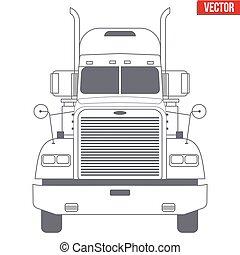 leverans, symbol, vektor, lastbil, företag