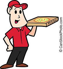 leverans, tecknad film, pizza