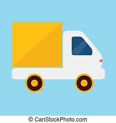leverans transportera, vektor, ikon