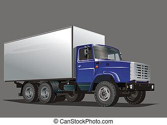 leverans, tung, lastbil