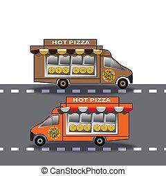 leverans, två, färd, nedåt, lastbil, pizzor, motorväg