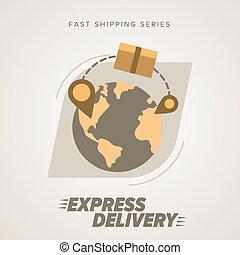 leverans, världsomfattande, uttrycka, symbols., shipping.