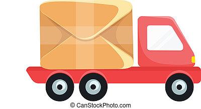 leverans, vektor, lastbil, ikon