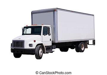 leverans, vit, lastbil, isolaated