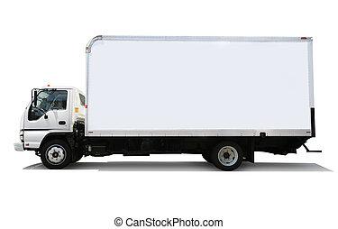 leverans, vit, lastbil