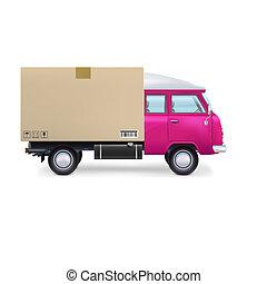 leverans, vit, skåpbil, isolerat