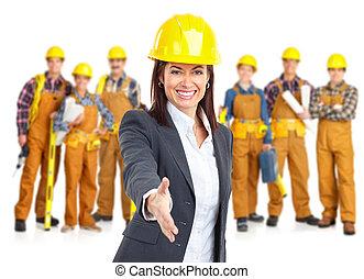 leverantörer, arbetare, folk