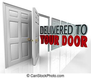 levererat, eller, dörr, löpare service, kvitto, ord, fasta,...