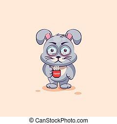 leveret, cinzento, xícara café, nervosa, adesivo, personagem, isolado, emoticon, caricatura, emoji