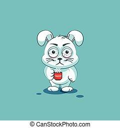 leveret, emoticon, xícara café, nervosa, adesivo, personagem, isolado, branca, caricatura, emoji