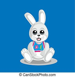 Leveret on blue background. Flat vector illustration. -...