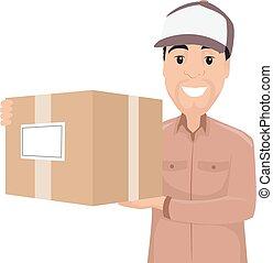 levering doos, vasthouden, man
