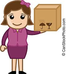 levering doos, vrouw, spotprent, vasthouden