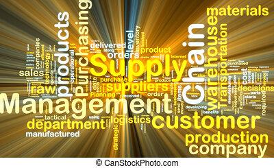 levering, ketting, management, wordcloud, gloeiend