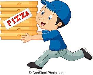 levering man, pizz, vasthouden, spotprent