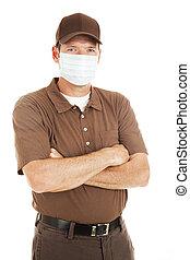 levering man, vervelend, griep, masker