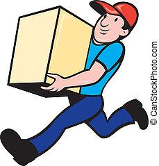 levering persoon, arbeider, rennende , bezorgen, doosje