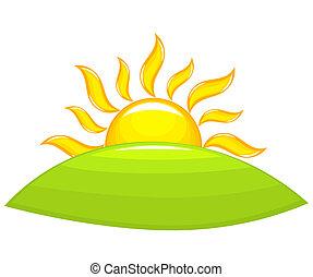 levers de soleil, au-dessus, colline