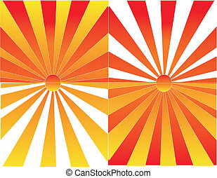 levers de soleil, coucher soleil, réflexions, illustration