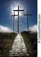 levers de soleil, crucifixion, jésus christ