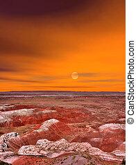 levers de soleil, désert peint