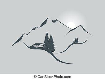 levers de soleil, dans, alpes