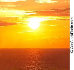 levers de soleil, dans, les, mer