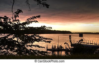 levers de soleil, dans, okoboji