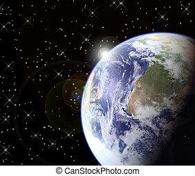 levers de soleil, depuis, espace