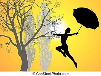 levers de soleil, femme, parapluie, pri