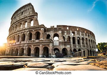 levers de soleil, italie, colisée, rome