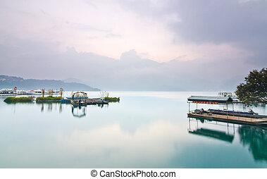 levers de soleil, lune, lac, soleil, taiwan, beau