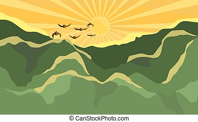 levers de soleil, matin, paysage montagne