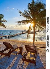 levers de soleil, maya, riviera, hamacs, plage