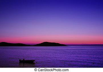levers de soleil, mer, bateau