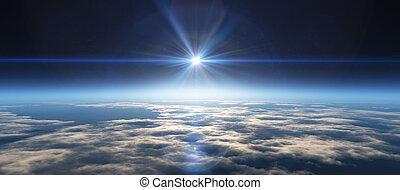 levers de soleil, planète, espace
